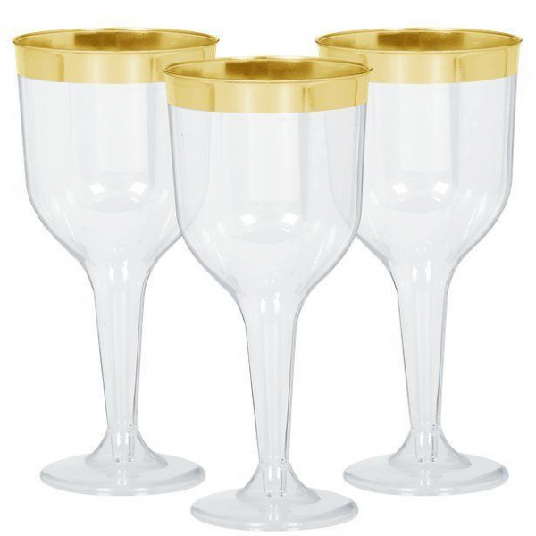 Christmas Premium Gold or Silver Trim Plastic Wine or Champagne Glasses